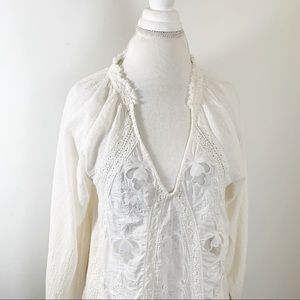 Free People Ruffle Textured Lace Blouse